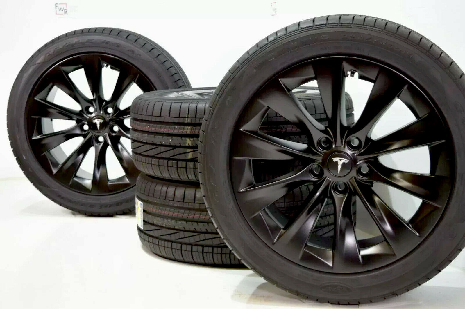 19″ Tesla Model S Slipstream Factory OEM Black Wheels Rims Tires Goodyear