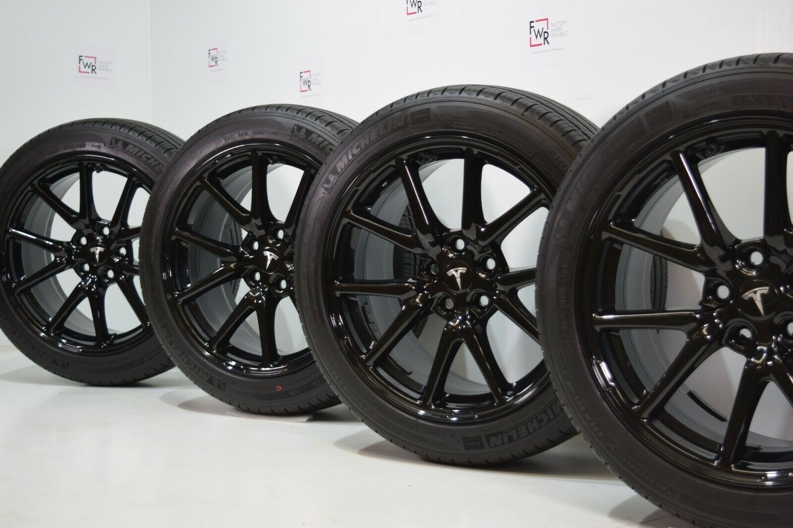 "18"" TESLA MODEL 3 Gloss Black WHEELS AERO RIMS FACTORY TIRES"