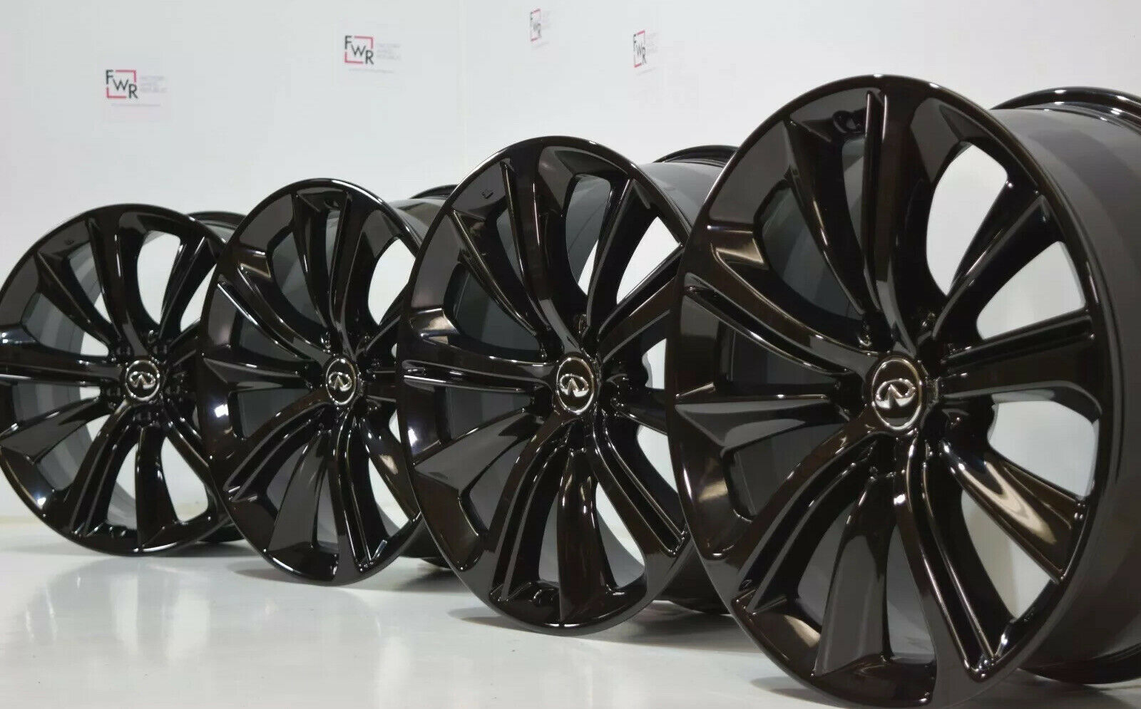 20″ INFINITI Red Sport Q60 Q50 M56 Factory OEM Rims Wheels Black infinity Square