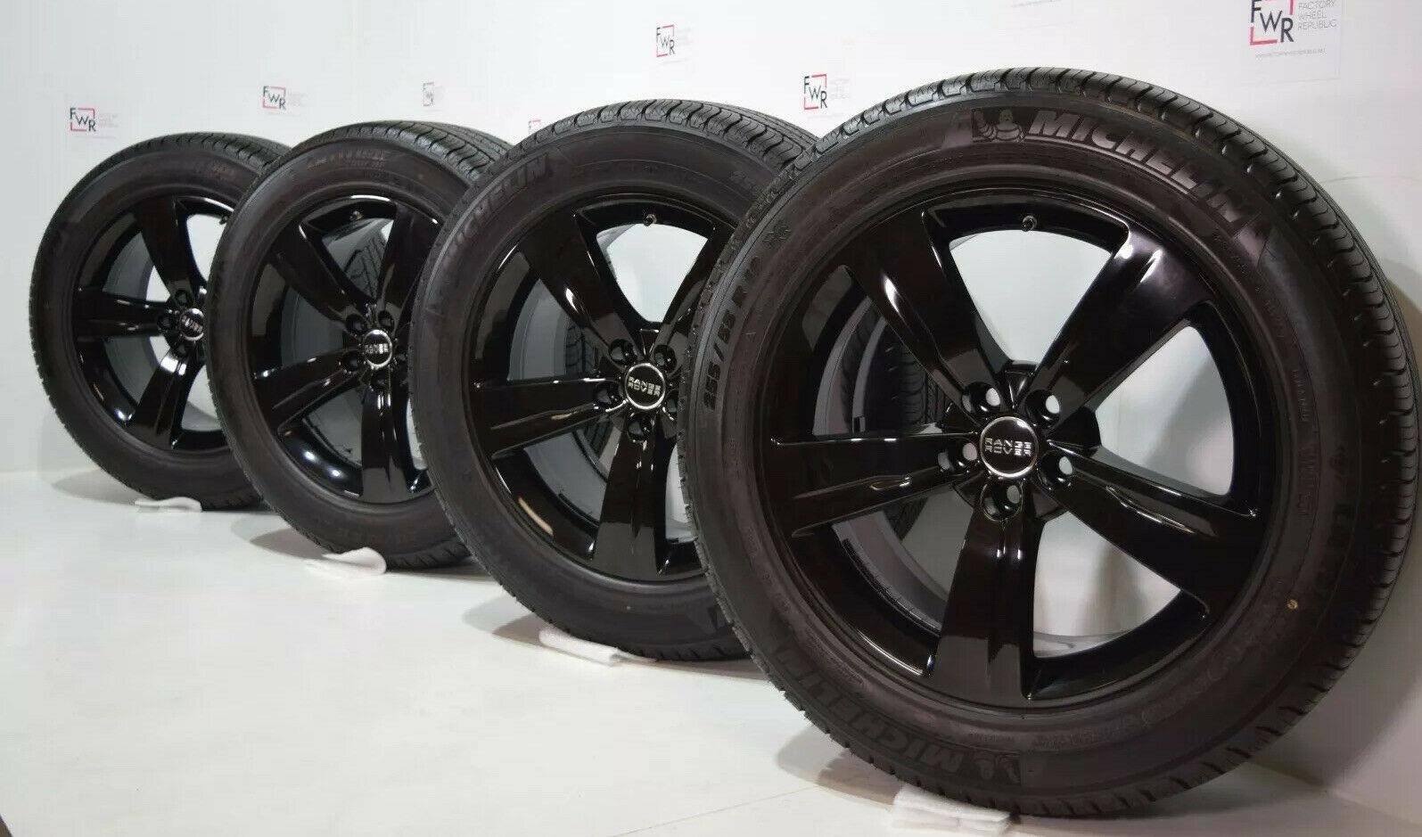 19″ LAND RANGE ROVER VELAR EVOQUE OEM FACTORY WHEELS RIMS GLOSS BLACK 5X108 Tires