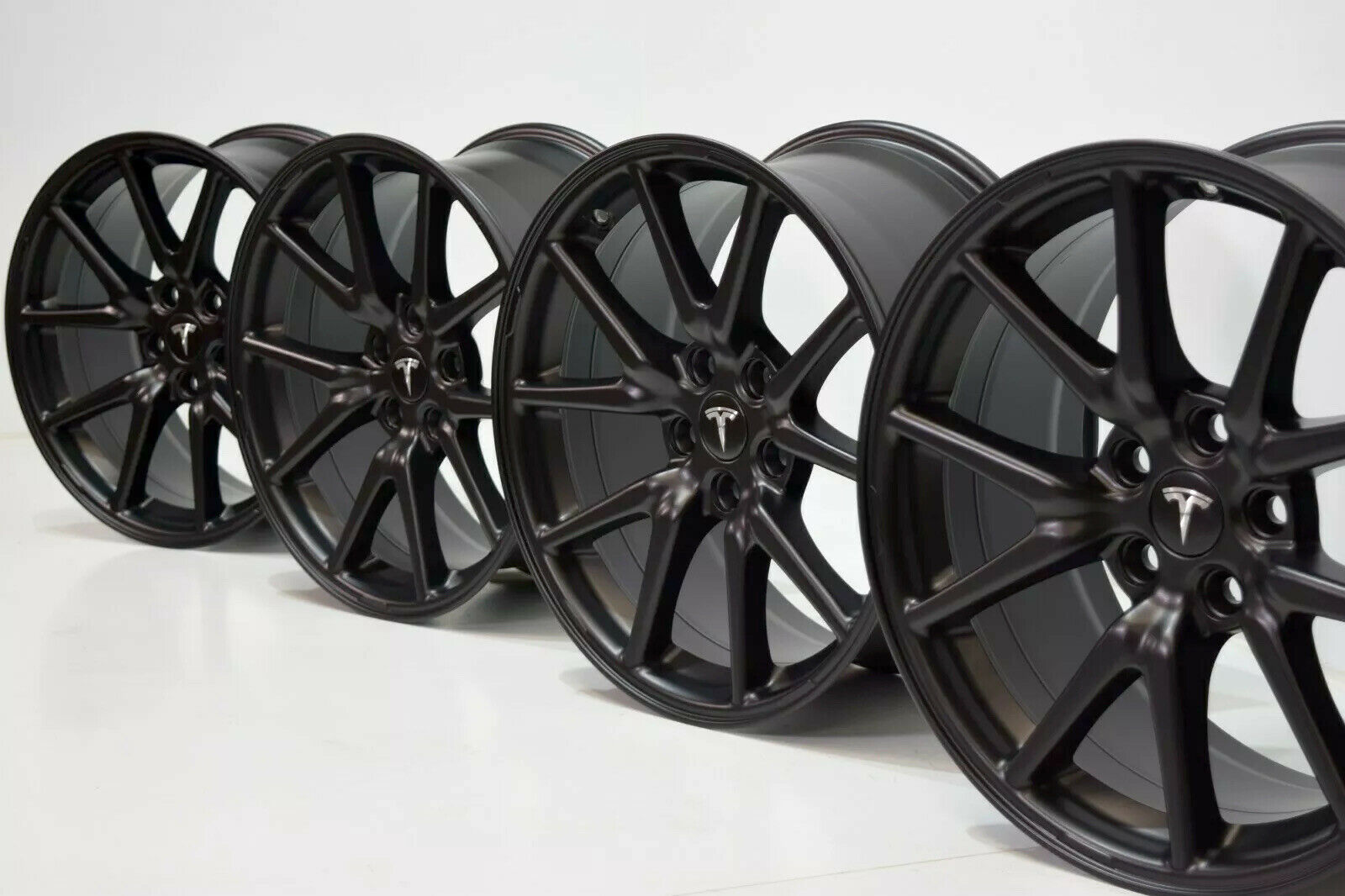 "18"" GENUINE TESLA MODEL 3 18 INCH OEM WHEELS AERO RIMS FACTORY OEM Black satin"