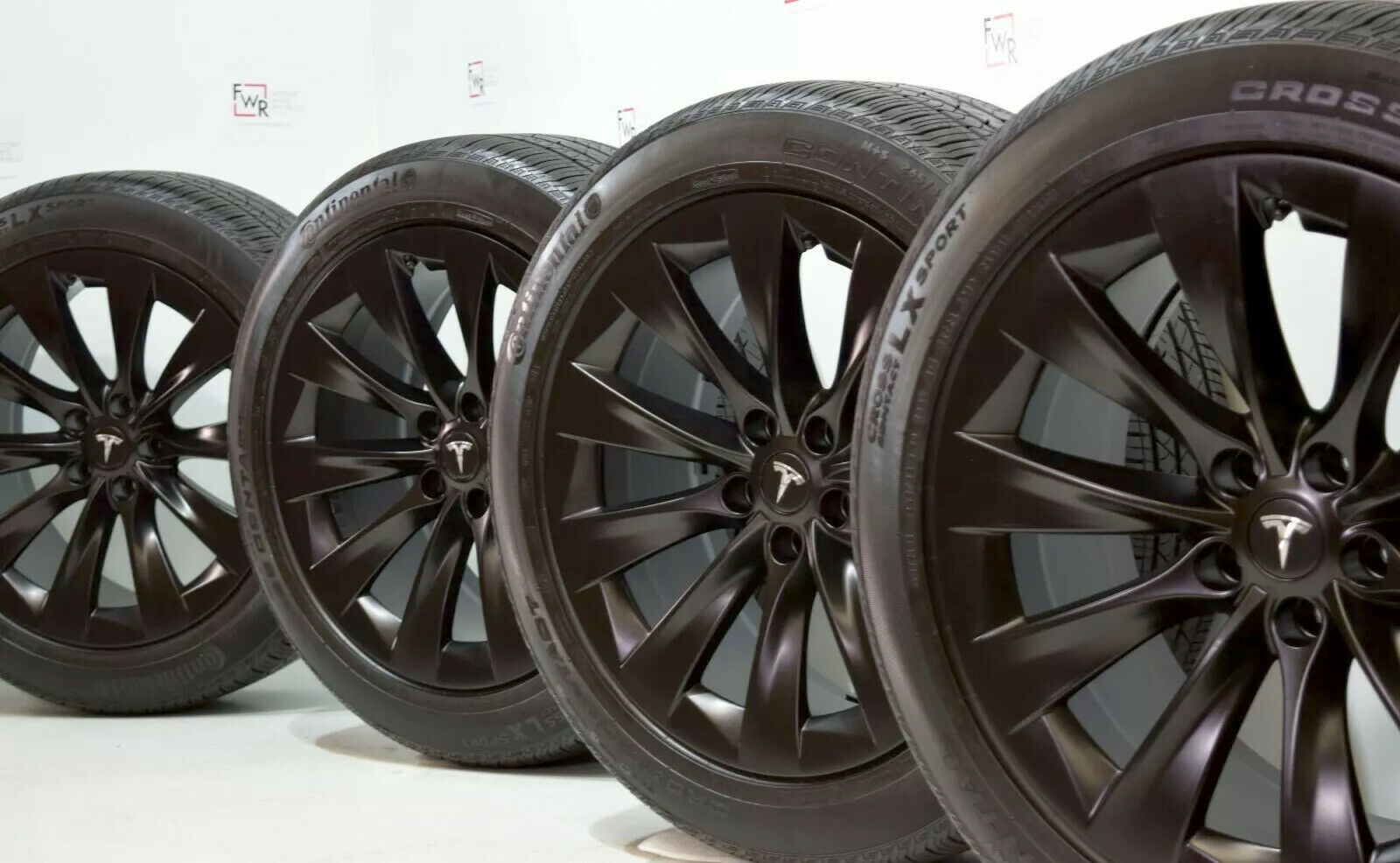 20″ TESLA MODEL X FACTORY WHEELS OEM RIMS TIRES Original Satin Black