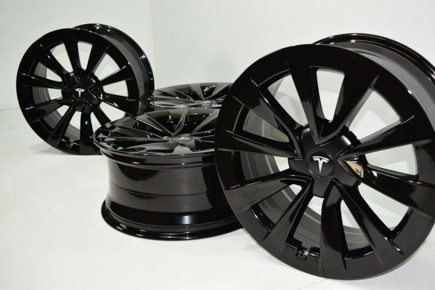 "19"" Tesla Model 3 TM3 Factory OEM Wheels Rims gloss Black OEM 2021 2020 2019"